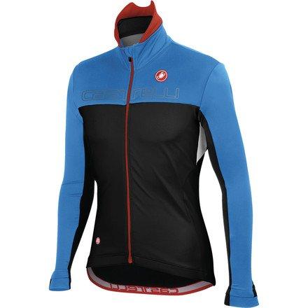Top Castelli Poggio Jacket - Men's Black/Drive Blue/White, XL - Men's