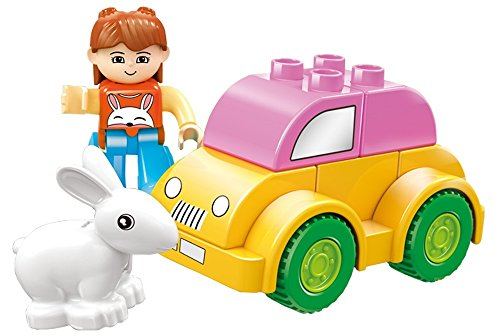 DIY Xpress - 10 pcs small building blocks park garden stall set with slide, tree, plant, 4 wheel burger cart, dog, & friendly figure - a must gift for 3+ kid for full fun, Lego Duplo compatible parts