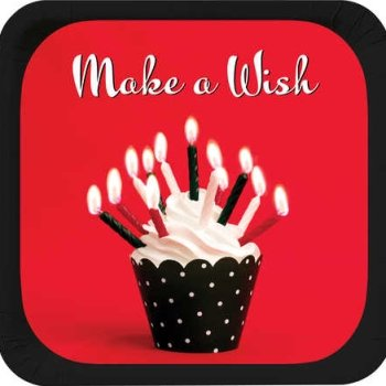 Creative Converting Cupcake Blowout Make A Wish Square Dessert Plates, 8-Count