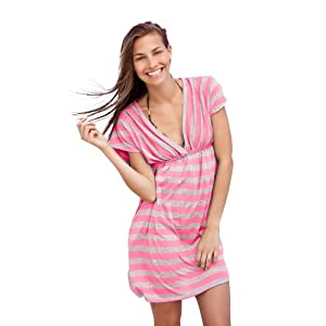 Ingear Tripe Cap Sleeve Dress (Large/XLarge, Pink)