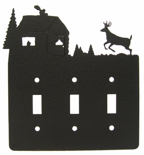 Deer & CABIN Triple Light Switch Plate Cover_1