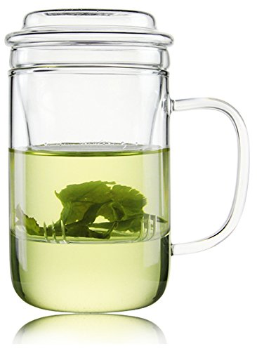 Tianxi Personal All Glass Made Tea Infuser & Mug Teapot Beatiful Style 400 Ml