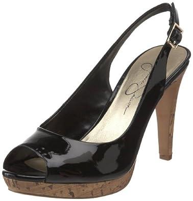 Jessica Simpson Women's Achillea High Heel Open-Toe Sling,Black Patent Cork,10 M US