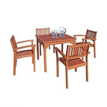 VIFAH V1104Set1 Outdoor Wood 5-Piece Dining Set, 35.4 by 35.4 by 29.5-Inch