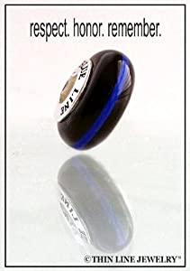 Genuine Thin Blue Line Charm Police Bead by Thin Line Jewelry