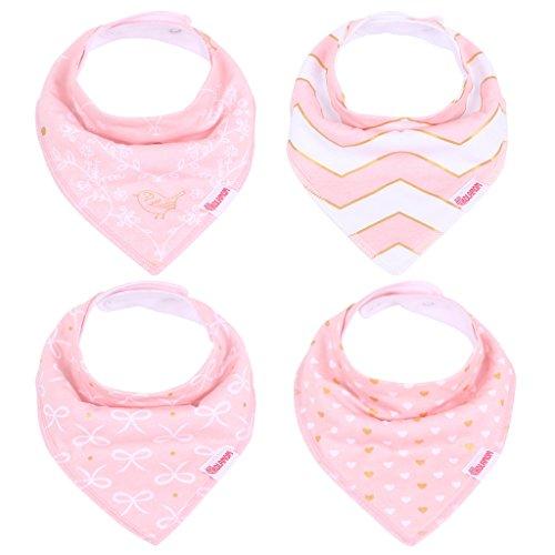 Kolamom Bandana Drool Baby Bibs 4 Pack Absorbent 100% Cotton Bib Baby Gift for Girls Pure Set