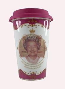 Queen Elizabeth II Diamond Jubilee Memorabilia Travel Mug Souvenir Double Walled