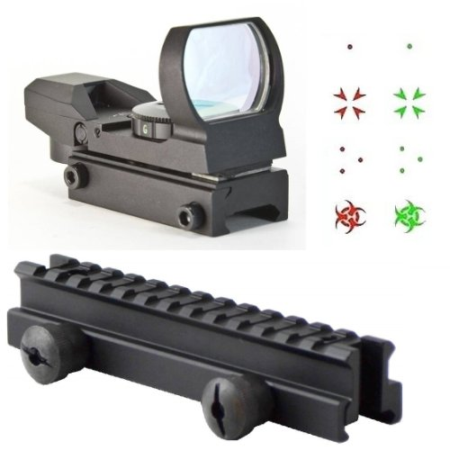 "Ultimate Arms Gear Qd Tactical 1"" Weaver-Picatinny High See Thru Stanag Riser Mount For Ar15 M4 Flattop Rifle Scope + Cqb 4 Multi Reticle Dual Red / Green Special Battle Edition Open Reflex Sight With Weaver-Picatinny Rail Mount - Combo Combination Packag"