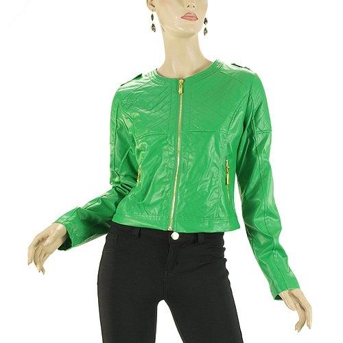 G2 Fashion Square Zipper Front Leather Jacket(OW-JKT,GRN-L)