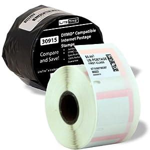 LiteTite 30915-Jumbo (1 Roll) DYMO LabelWriter (LW) Endicia Compatible Internet Postage Stamp Labels (LT30915)