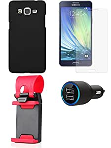 Tempered Glass Screen Guard Cover Case Car Charger for Samsung Samsung Galaxy A7 - Combo