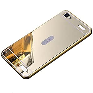 Novo Style Luxury Shiny Bling Glitter Metal Clear Aluminum Frame Cover Ultra Thin Slim Bumper Hard Back Case Cover For Vivo Y37 - Golden