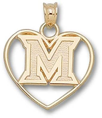 Miami Hurricanes New M Heart Pendant - 14KT Gold Jewelry by Logo Art
