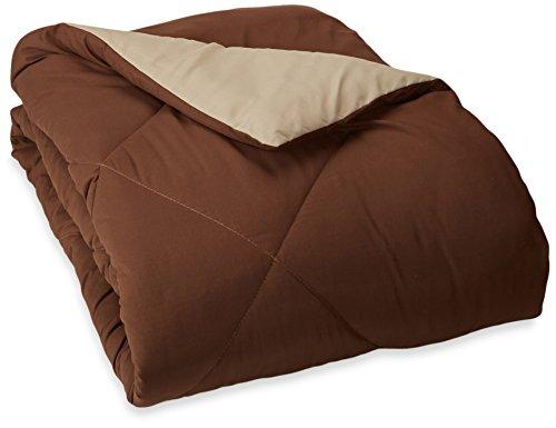 Lowest Price! AmazonBasics Reversible Microfiber Comforter - Twin/Twin Extra-Long, Chocolate