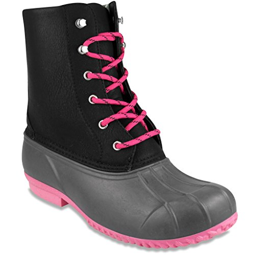 London Fog Womens Wynter Duck Rain Boot Black/Grey 7 M US (Neoprene Rain Boot Liners compare prices)