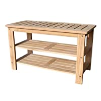 D-ART Outdoor Shoe Bench with 2 Shelves - in Teak Wood