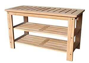 D Art Collection Teak Outdoor Shoe Bench Storage Benches Patio Lawn Garden