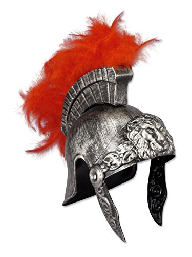 [Silver Plastic Roman Helmet with Red Feathers] (Ancient Roman Soldier Costume)