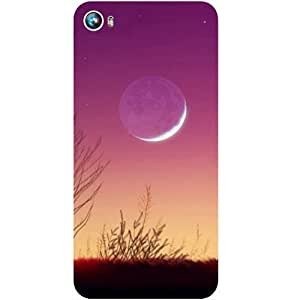 Casotec Moon View Design Hard Back Case Cover for Micromax Canvas Fire 4 A107