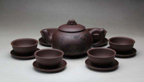 Ufingo-Chinese Yixing Handmade Zisha Purple Clay Tea Set Tea Service-Chunmanyu-Zini-500cc