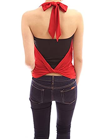 PattyBoutik Cowl Neck Twist Back Halter 2 pcs Party Cami Top (Red XL)