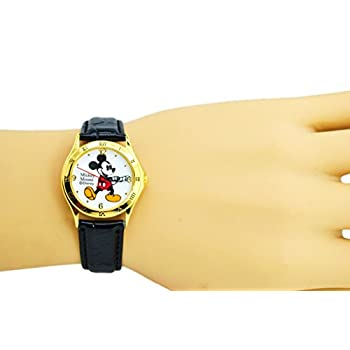 "Disney Unisex Watch Mickey Mouse ""Vintage"". Gold-Tone Analog Display. Black Band 9""."