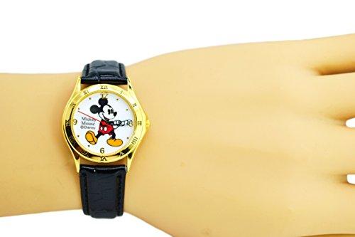 "Disney Unisex Watch Mickey Mouse ""Vintage"". Gold-Tone Analog Display. Black Band 9"". 1"
