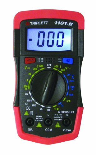 Triplett 1101-B Compact Digital MultiMeter with Bright, White Backlit Display and Temperature Test, 600V AC/DC