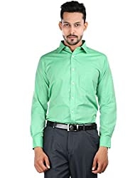 Oxemberg Men's Solid Formal Cotton Poly Green Shirt