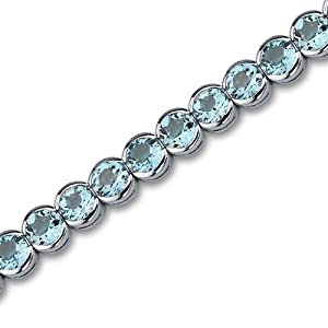 Must Have Elegant 19.00 carats total weight Round Cut Swiss Blue Topaz Gemstone Tennis Bracelet in Sterling Silver Rhodium Nickel Finish by Peora