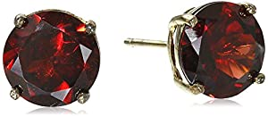 Gold Plated Sterling Silver 8mm Round Garnet Earrings