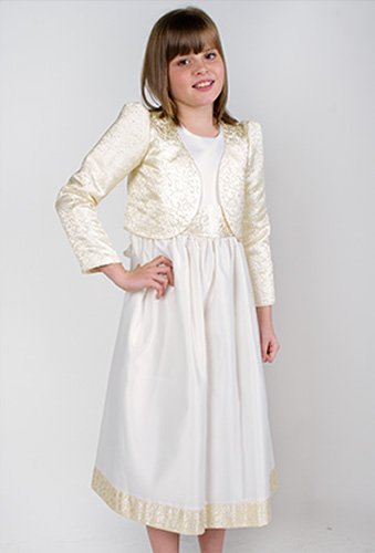 Flower Girls Dress Ivory & Gold Harrishina Bridesmaid Dress 6 months - 6 years