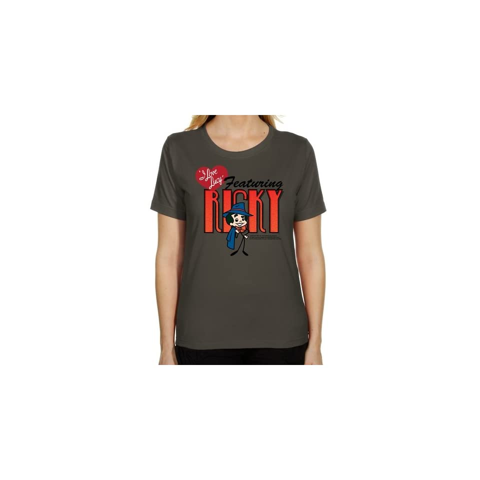 I Love Lucy Ladies Ricky Sketch Classic Fit T Shirt   Charcoal (XX Large)