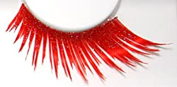 Zinkcolor Vibrant Red W/ Iridescent Glitter False Eyelashes E859 Costume