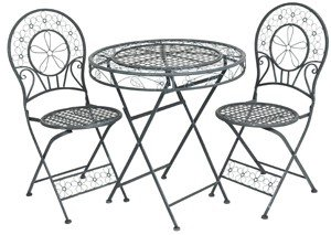 Art Nouveau Garden Furniture Set Dark Blue - Bistro Set - 1 table with 2 chairs Model Venice