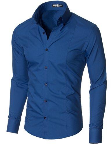 MODERNO - Camicia Classico Uomo Blu EU XL