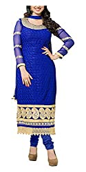 Arya Dress Maker Women's Georgette Unstitched Dress Material (Blue)