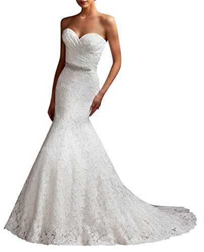 G Marry Women's Strapless Mermaid Lace Brial Wedding Dress Size 16 Ivory