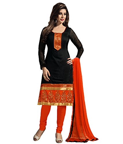 Riti Riwaz Women\'s Cotton Unstitched Dress Material (Mgd9011 _Black & Orange _Free Size)