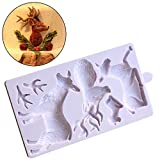 Joinor Fondant Cake Mold Christmas Santa Claus and Elk Sugarcraft Paste Fondant Mold Cake Decorating Mold (Color: Gray)