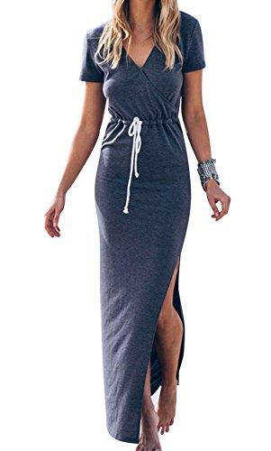 Oyanus-Womens-Casual-V-Neck-Side-Split-Drawstring-Beach-Long-Bodycon-Dress