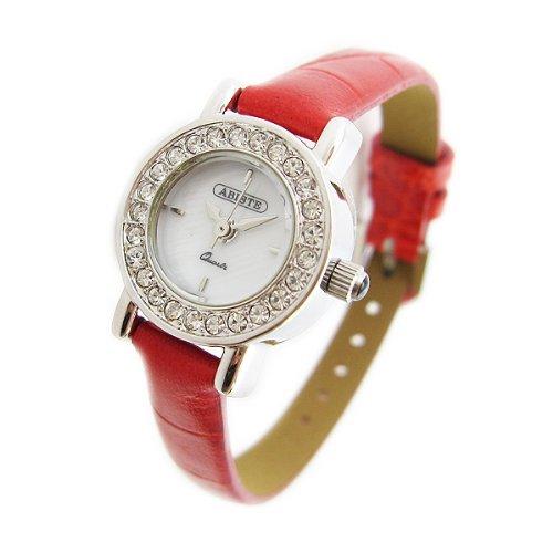 [アビステ]ABISTE ミニラウンドフェイス型押し細ベルト時計/レッド 9200501S/R