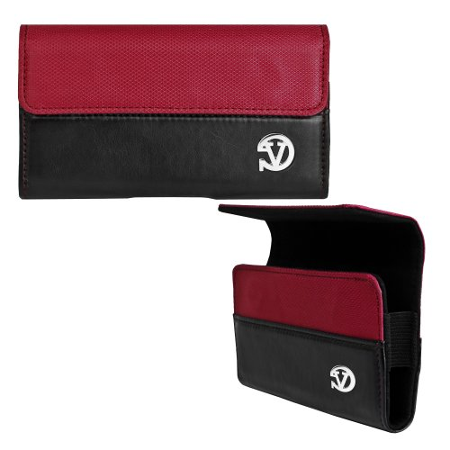 VanGoddy Cell Phone Accessories Presents the Beautiful Portola Line of Phone Holsters for the Samsung Rugby Smart in Sunset Red