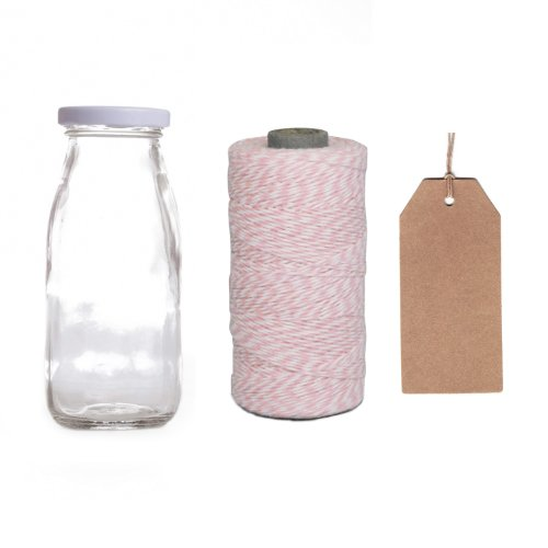 Dress My Cupcake 12-Pack Favor Kit, Includes Vintage Glass Milk Bottles And Twine/Kraft Gift Tag, Baby Pink front-507733