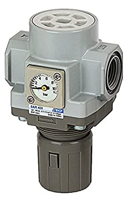 "PneumaticPlus SAR400-N04BGS Air Pressure Regulator 1/2"" NPT with Embedded Gauge & Bracket"