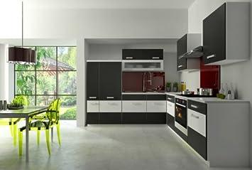 Kuche Fabienne 260x220 cm Kuchenzeile in schwarz / weiß - Kuchenblock variabel stellbar