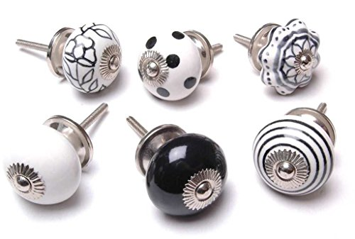 Zoya's 14 Mied Black & White Cupboard Drawer Knobs Kitchen Knob Cabinet K-57 (Black And White Knobs compare prices)