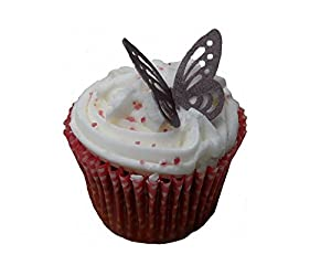 (SB) Burgundy Plum Edible Rice Paper Butterfly Cup Cake Wedding Cake Decoration x 12