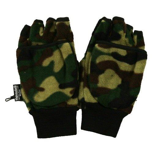 Camo Fleece Fingerless Glove - Green Camo