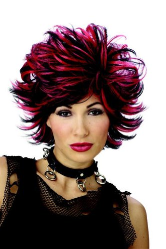 Adult Black & Red Sexy Shag Costume Wig